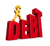 Rising Debt. A gold dollar sign climbing steps forming the word, DEBT. On white with drop shadow Stock Photo
