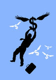 Rising Dollar. Illustration with a businessman holding on to a fly away dollar sign Royalty Free Stock Photos