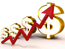 Rising dollar. Rise in dollar value shown with red graph and increasing dollar symbol in gold, white background, currency valuation concept Royalty Free Stock Photo
