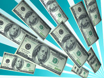 Rising dollar bills Stock Photos