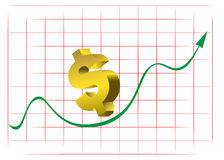 Rising dollar graph Royalty Free Stock Image