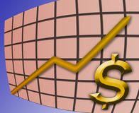 Rising dollar graph stock image