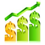Rising Dollar Rate Concept Stock Photography