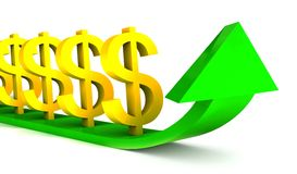 Rising dollars chart with green arrow Stock Photography