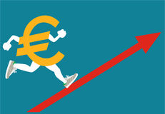 Rising Euro. Euro sign with growing up red arrow Stock Photography
