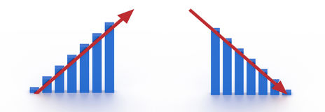 Rising and falling chart with arrows. 3d blue charts with red arrows heading up and down Stock Photos