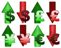 Rising and falling currency Royalty Free Stock Image