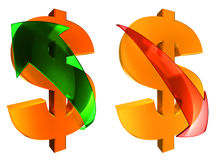 Rising and falling dollars. Gold dollars with green and red glass arrows Stock Images