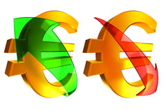 Rising and falling euro Stock Photo