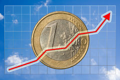 Rising figures. Rising graph illustrating financial growth with gradient grid, blue sky and euro as background Royalty Free Stock Image
