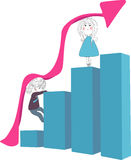 Rising finance graph. Vector illustration of boy and girl climbing  on the  rising finance graph Royalty Free Stock Photography