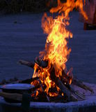 Rising flames at a camp fire Stock Images