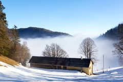 Rising fog in the misty mountain valley Royalty Free Stock Photos
