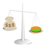 Rising food costs. A hamburger costs more than a money bag Royalty Free Stock Image