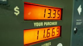 Rising gas prices on station pump scree stock video footage
