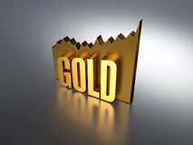 Rising Gold Chart With Letters Royalty Free Stock Photography
