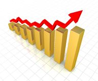 Rising gold graph Royalty Free Stock Images