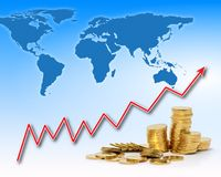 Rising gold value in the world Stock Photo