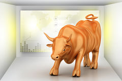 Rising golden business bull. In color background Stock Photography