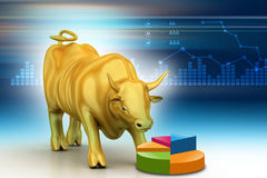 Rising golden business bull. In color background Stock Images