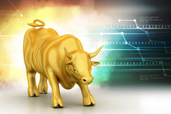 Rising golden business bull. In color background Royalty Free Stock Photo