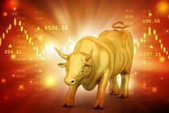Rising golden business bull Royalty Free Stock Image