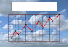 Rising graph. An upwardly rising graph against the background of the sky, with a blank white banner vector illustration