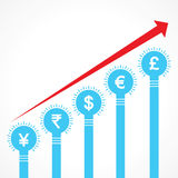 Rising graph of currency bars made of bulbs Stock Photo