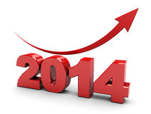 2014 rising graph. 3d illustration of 2014 year rising graph over white background stock illustration