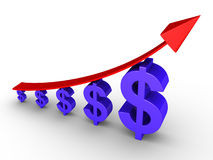 Rising graph and dollars. Rising 3d graph and dollars getting bigger Royalty Free Stock Images