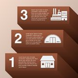 Rising graph. Industrial rising graph infographic set with buildings vector illustration Stock Photo