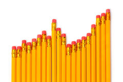Rising graph of pencils Royalty Free Stock Images