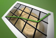 Rising graph persective. Graph with rising green arrow, pound coin background stock photography