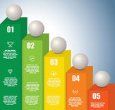 Rising Graph with a sphere on each bar Royalty Free Stock Photography
