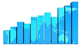 Rising graph with world map Stock Image
