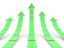 Rising green arrows 3D Stock Photo
