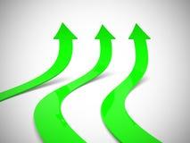 Rising green arrows 3D. 3d render illustration Stock Photo