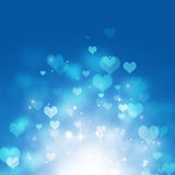 Rising Hearts on Blue Background. Abstract blue background of bokeh hearts and lights royalty free illustration