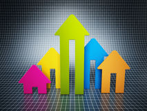 Rising house prices chart Royalty Free Stock Photos