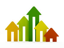 Rising house prices chart Stock Photo