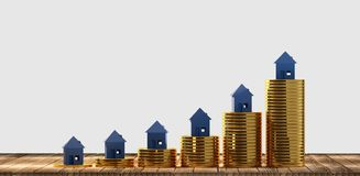 Rising house prices 3d-illustration. Image design graphic royalty free illustration