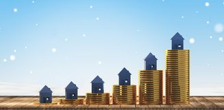 Rising house prices 3d-illustration. Image design graphic vector illustration