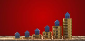 Rising house prices 3d-illustration. Design image graphic royalty free illustration