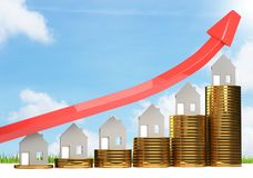 Rising house prices 3D illustration royalty free illustration