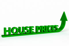 Rising House Prices. The words house prices with a green arrow pointing in an up direction Stock Photos
