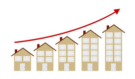 Rising Housing Market Concept Vector Illustration Stock Photos