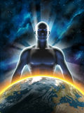 Rising man. Statue of an human male, with light rays coming from behind, standing over a gorgeous spacescape. Digital illustration Royalty Free Stock Photo