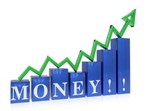 Rising money graph. 3d rendered rising money graph , isolated on white background Stock Photos