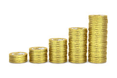 Rising Money. Rising Heaps of Euro Coins 3D Illustration Royalty Free Stock Images