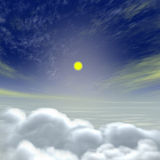 Rising moon above clouds Royalty Free Stock Image